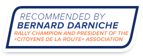 Recommended by bernard darnich - rally champion and president of the citizens of the road